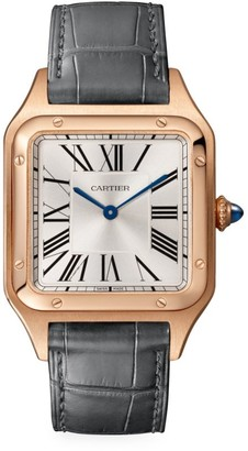 Cartier Santos Dumont de Large 18K Rose Gold & Grey Alligator-Strap Watch