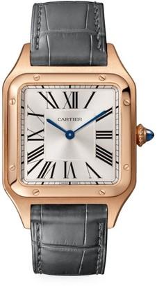 Cartier Santos Dumont de Large 18K Rose Gold & Grey Alligator-Strap Watch