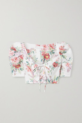 Zimmermann Bellitude Cropped Lace-up Floral-print Linen Top - Ivory