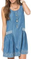 O'Neill 'Gold Coast' Embroidered Chambray Shift Dress