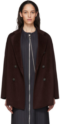 Acne Studios Burgundy Wool Double-Breasted Coat