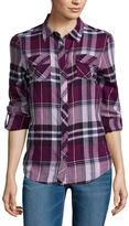Arizona Long-Sleeve Classic Plaid Shirt- Juniors