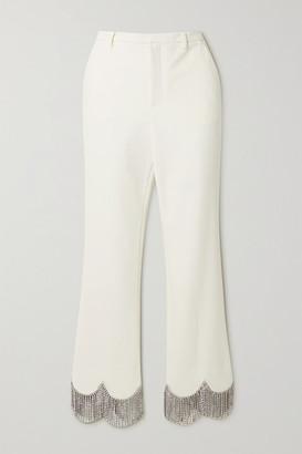 Area Crystal-embellished Crepe Straight-leg Pants - Ivory