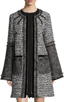 Andrew Gn Tweed Zip-Front Coat, Black/White