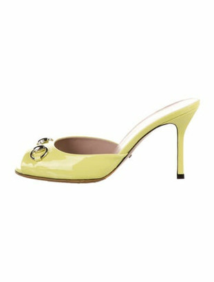 Gucci Horsebit Accent Patent Leather Slides Yellow
