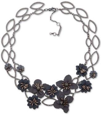 "Jenny Packham Hematite-Tone Crystal & Imitation Pearl Flower Statement Necklace, 16"" + 4"" extender"