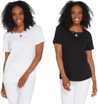 Factory Quacker Set of 2 Keyhole Neck Short Sleeve Knit T-shirts