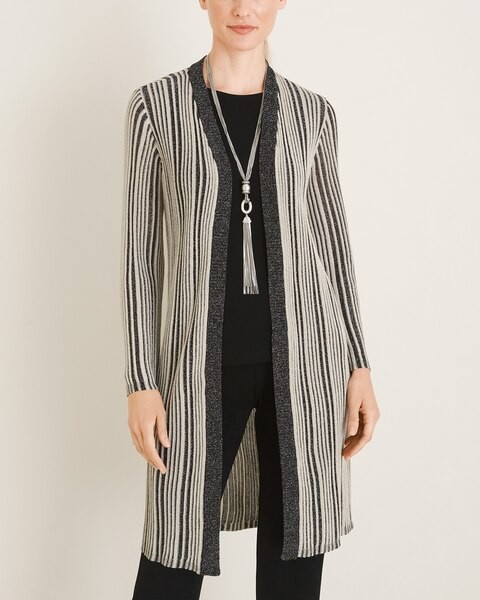Travelers Collection Long Striped Cardigan