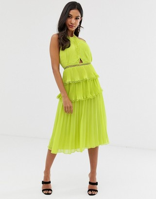 Asos Design DESIGN midi dress with cross front and lace trim tiered skirt-Green