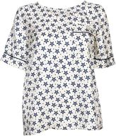 P.A.R.O.S.H. Star Print Top From White/blue Star Print Top With Round Neck, Breast Pocket, All-over Print Design, Short Sleeves And A Curved Hem.