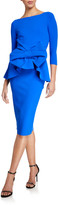 Chiara Boni High-Neck 3/4-Sleeve Peplum Dress w/ Bow Detail