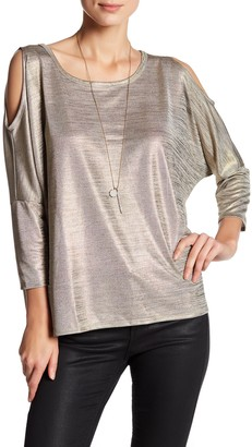 Free Press Cold Shoulder Metallic Blouse