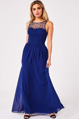 Little Mistress Grace Cobalt Sweetheart Maxi Dress With Embellishment