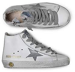 Golden Goose Kid's Francy Star-Embroidered High-Top Sneakers