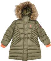 U.S. Polo Assn. Olive & Coral Hooded Long Puffer Jacket - Toddler & Girls