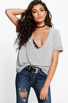 Boohoo Steph Extreme Scoop Front Oversized Tee