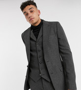 Asos Design DESIGN Tall wedding super skinny suit jacket in wool mix herringbone in charcoal