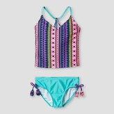 Xhilaration Girls' Tankini Tribal Print Multi Aqua