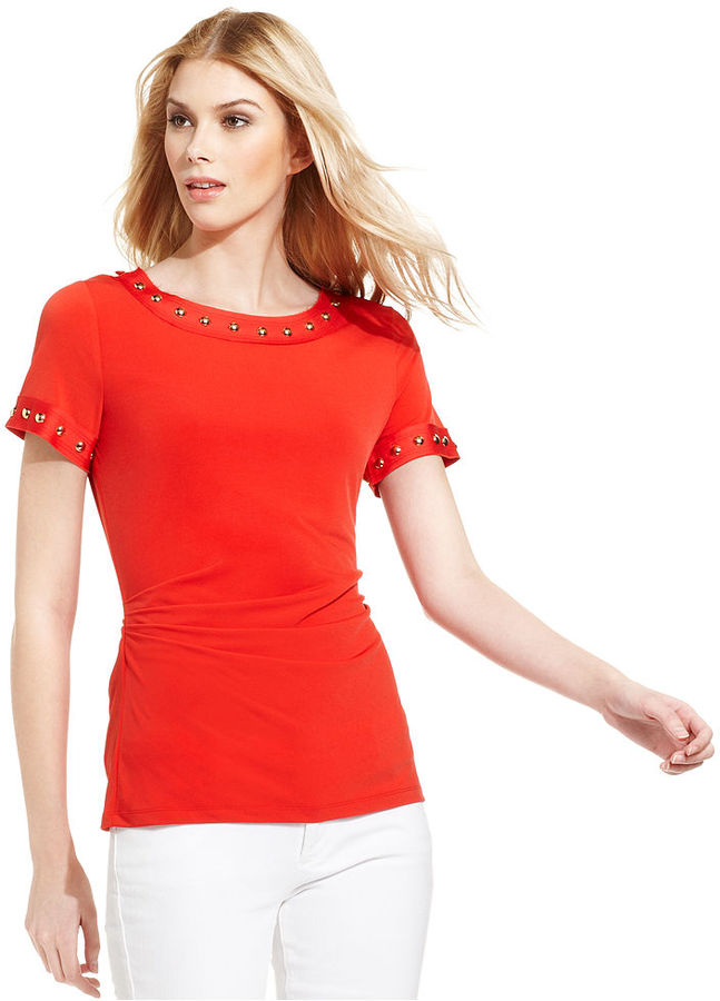 MICHAEL Michael Kors Top, Short-Sleeve Studded Ruched
