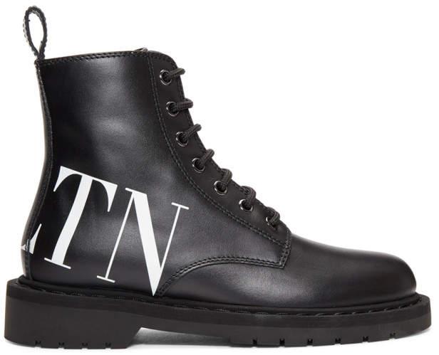Valentino Black Garavani VLTN Lace-Up Boots