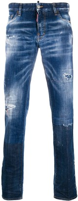 DSQUARED2 Distressed Detail Painted Effect Jeans