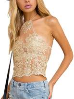 Leezeshaw Womens Halter Off Shoulder Embroidery Lace Tunic Cami Shirts Crop Tops