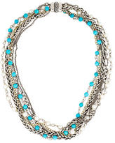 David Yurman Two-Tone Turquoise & Pearl Multistrand Necklace