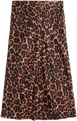 J.Crew Leopard Print Pull-On Slip Skirt