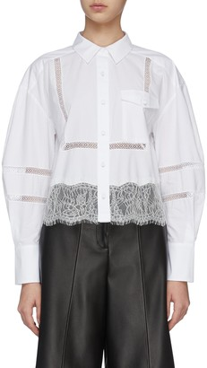 Self-Portrait Sheer Stripe Lace Trim Shirt