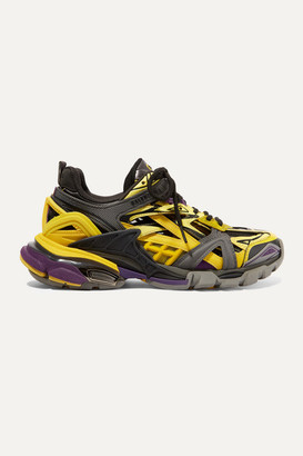 Balenciaga Track 2 Logo-detailed Metallic Mesh And Rubber Sneakers - Yellow