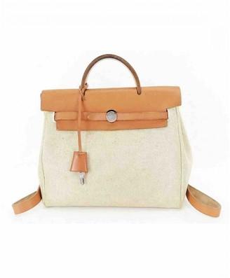 Hermes Herbag Ecru Cloth Backpacks