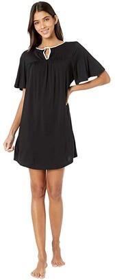 Kate Spade Evergreen Modal Jersey Short Sleeve Sleepshirt (Black) Women's Clothing