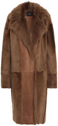 Theory Paneled Shearling Coat