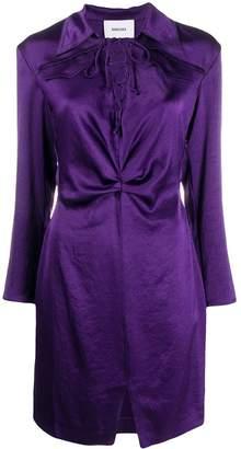 Nanushka lace-up textured shirt dress