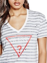 GUESS Destroyed Logo V-Neck Tee