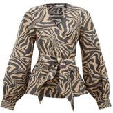 Ganni Tiger-print Cotton Wrap Top - Womens - Beige
