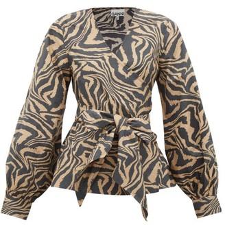 Ganni Tiger-print Cotton Wrap Top - Beige