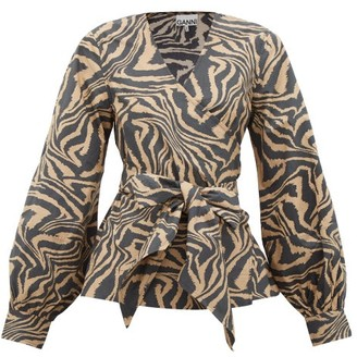 Ganni Tiger-print Cotton Wrap Top - Womens - Beige