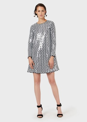 Emporio Armani Dress Embellished With Damier Motif Sequins