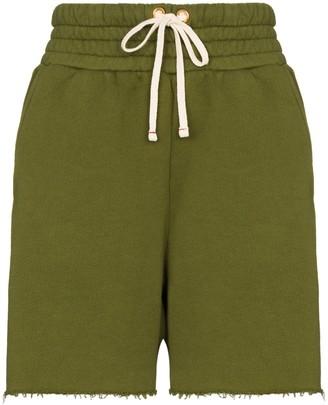 LES TIEN Drawstring Frayed Hem Shorts