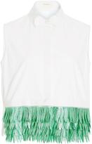 DELPOZO Sleeveless Cotton Button Up Shirt with Jacquard Fringe Hem