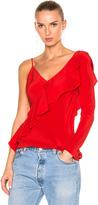 Diane von Furstenberg Asymmetrical Sleeve Ruffle Front Blouse Top