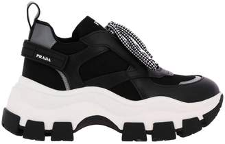 Prada Sneakers Super Wedgy Lace-up Sneakers In Nylon And Leather With Maxi Sole