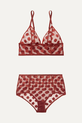 LOVE Stories Dawn And Moonflower Polka-dot Stretch-mesh Bra And Briefs Set - Claret