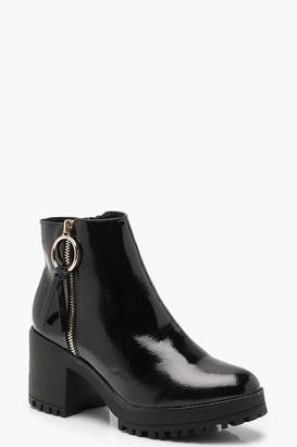 boohoo O Ring Zip Trim Patent Cleated Ankle Shoe Boots
