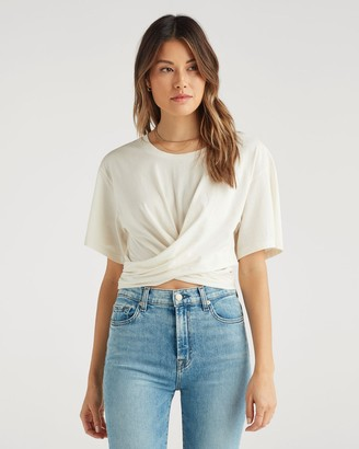 7 For All Mankind Twist Tee in Ivory