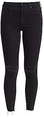 Mother Women's Looker Ankle Fray Leopard-Back Skinny Jeans