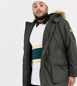Duke king size lightweight parka with faux fur and borg lined hood in khaki-Green