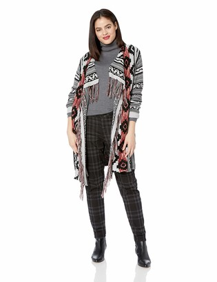 ONEWORLD Women's Plus Size Aztec Print Fringe Cardigan Sweater
