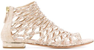 Casadei Crystal-Embellished Open Toe Sandals